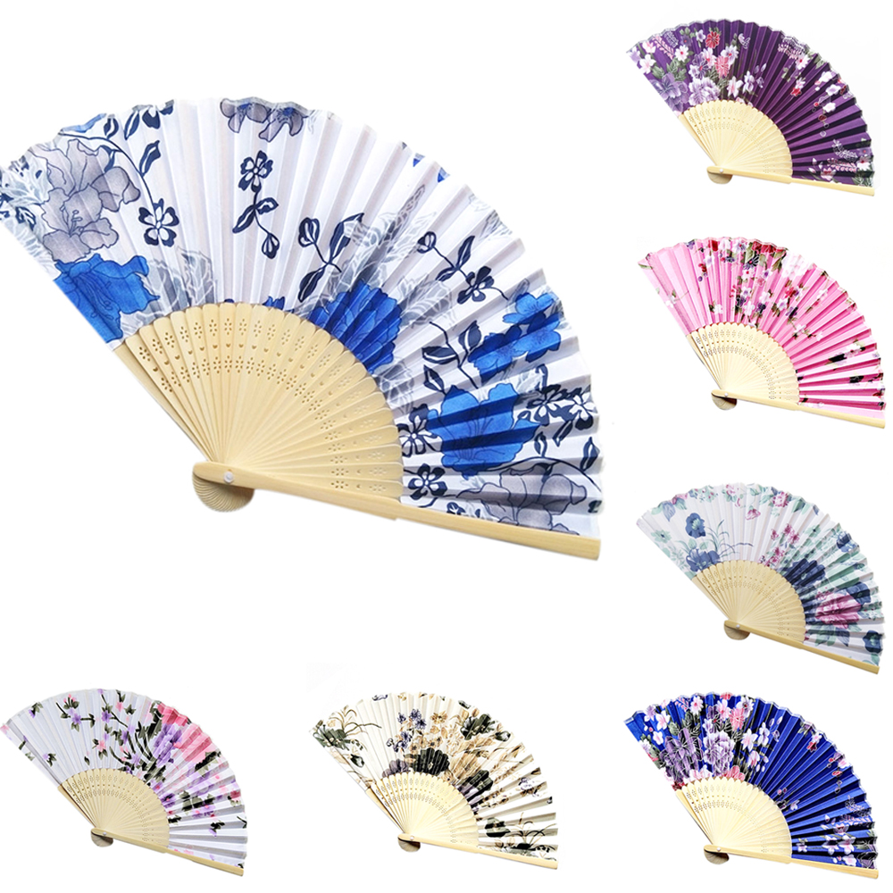 7 Colors Fashion Chinese Style Folding Fan Cherry Blossom Pocket Hand Fan Summer Art Craft Gift Mother's Day