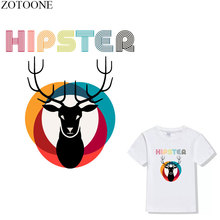 ZOTOONE Cartoon Deer Iron On Transfers Christmas Stickers Heat Thermal For T-Shirt Clothes DIY Badge Printed Applique