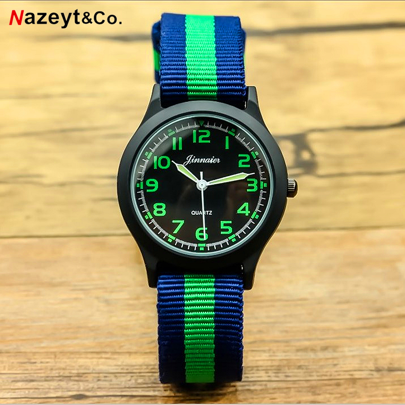 Nazeyt Branded Luxury Children Army Watch Boys And Girls Sports Luminous Hands Nylon Quartz Wristwatches Clock Relogio