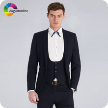Latest Coat Pant Designs Dark Blue Men Suits for Wedding 3Pieces Jacket Pants Vest Groom Tuxedos Formal Business Male Blazers