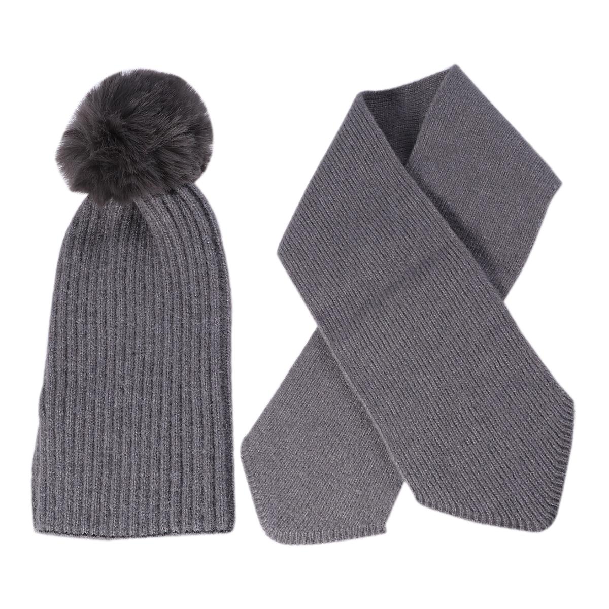 2 Pcs Kinder Unisex Gestrickte Hut Schal Anzug Außen Herbst Winter Stilvolle Schal Und Hut Set (tiefe Grau)