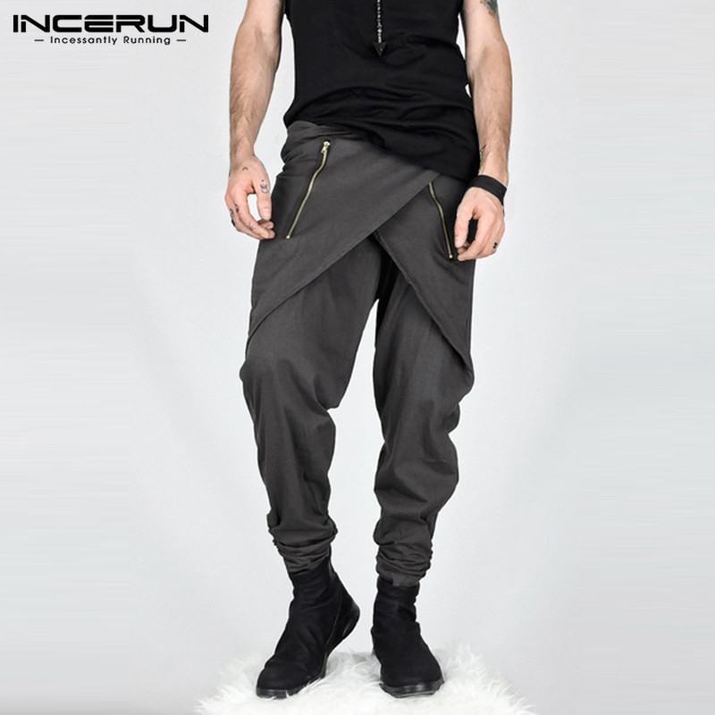 INCERUN Streetwear Men Harem Pants Joggers Zipper Fashion Irregular Trousers Men Hiphop Loose Casual Pants Pantalon Hombre S-5XL