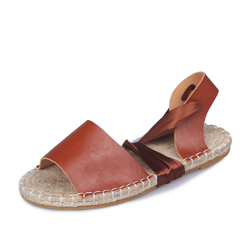 Plus Size 43 Women 39 s Sandal Summer Hemp Insole Flat Sandals Cross Bandage Roman Sandals Shoes Lace up Ankle Strap Female Shoes in Women 39 s Sandals from Shoes