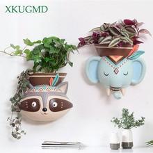 Créatif intérieur mural suspendu animaux Pots planteur succulentes éléphant hibou renard cerf ours pendentif Vase maison décoration murale