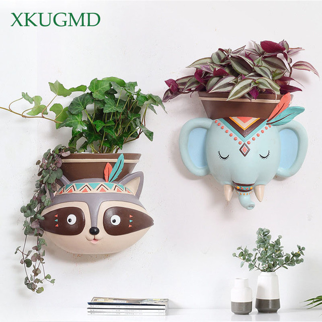 Creative Indoor Wall Mounted Hanging Animal Pots Planter Succulents Elephant Owl Fox Deer Bear Pendant Vase Home Wall Decoration
