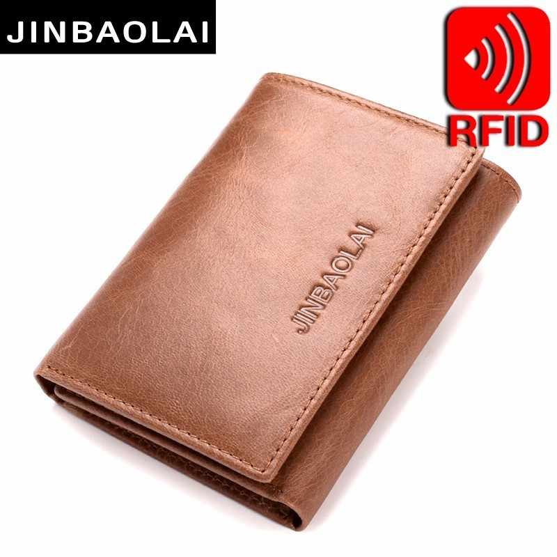JINBAOLAI Mens Trifold Genuine Leather Wallet Vintage RFID Blocking Wallet Credit Cards Holder Organizer Wallet With Hasp Purse