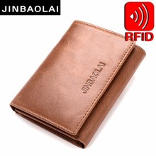 Mens Trifold Genuine Leather Wallet Vintage RFID Blocking Credit Cards Holder Organizer With Hasp Purse wallet men