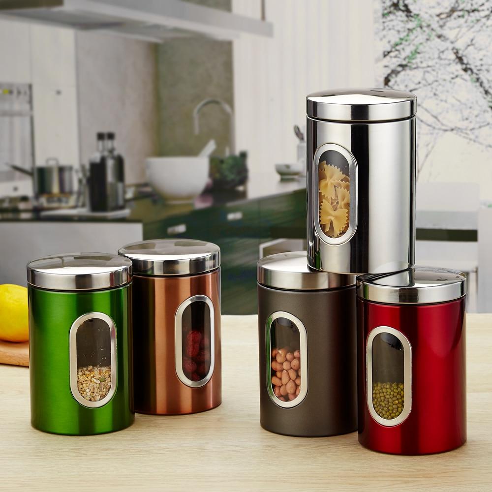 3pcs/set Stainless Storage Box Kitchen Food Storage Tank ...
