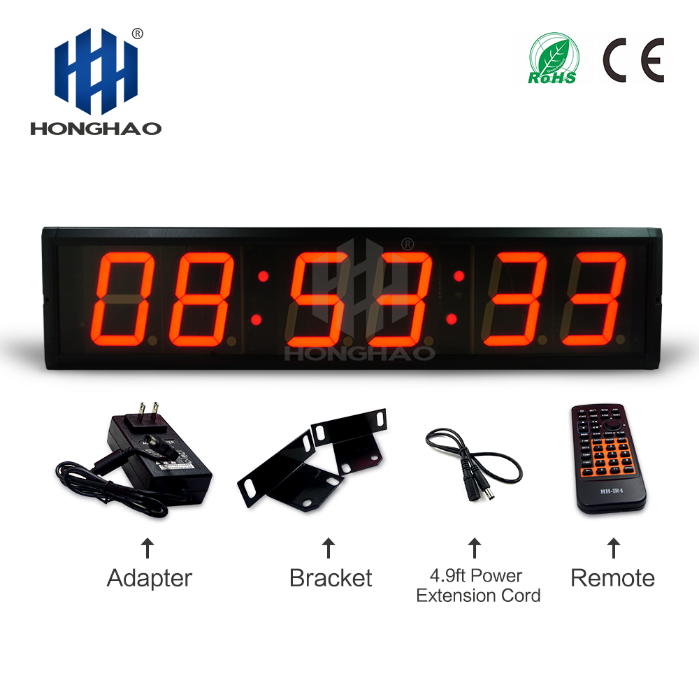 Fedex Free Shipping 4 6Digits Led electronic home clock kitchen wall decor remote control stopwatch