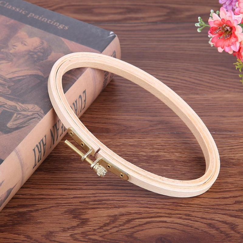 DIY Wooden Bamboo Embroidery Frame Oval Cross Stitch Machine Embroidery Hoop Ring CrossStitch Needlecraft Household Sewing Tool