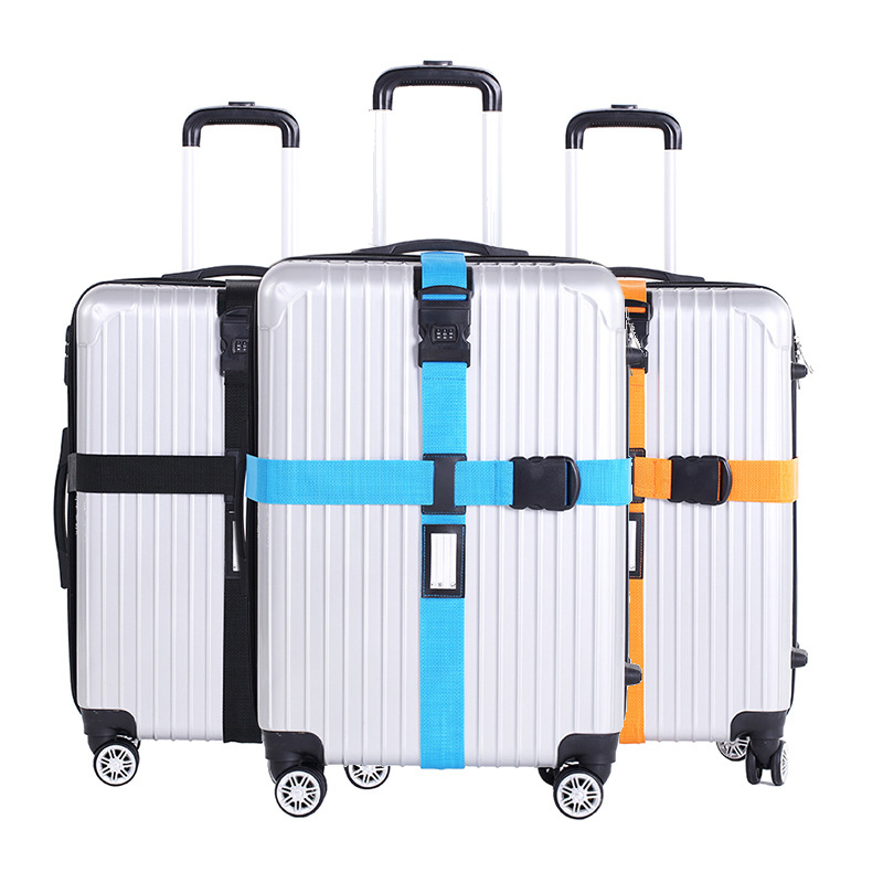 6 Colors Adjustable Nylon Luggage Straps Password Lock Travel Accessories Cross Suitcase Belts For Camping