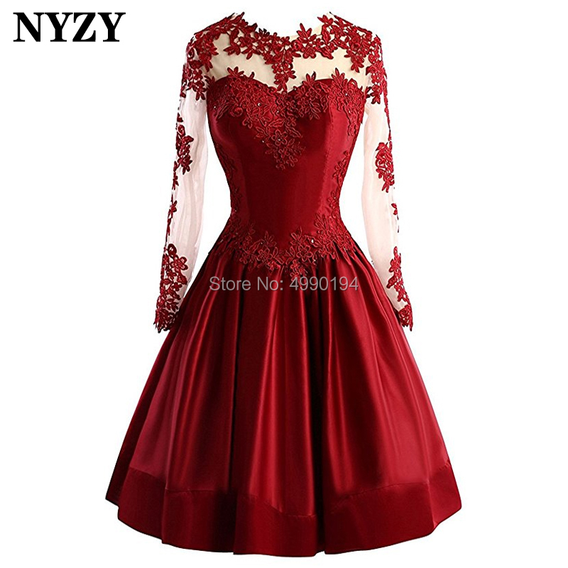 NYZY C87 Elegant Lace Long Sleeve Evening Dress Short Backless Burgundy Cocktail Dress Party Vestido Coctel Custom Made