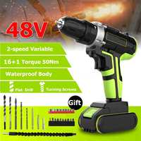 Professional 48V Cordless drill Daul Speed Adjustment LED lighting Large capacity battery 50Nm 16+1 torque 28pcs Accessories