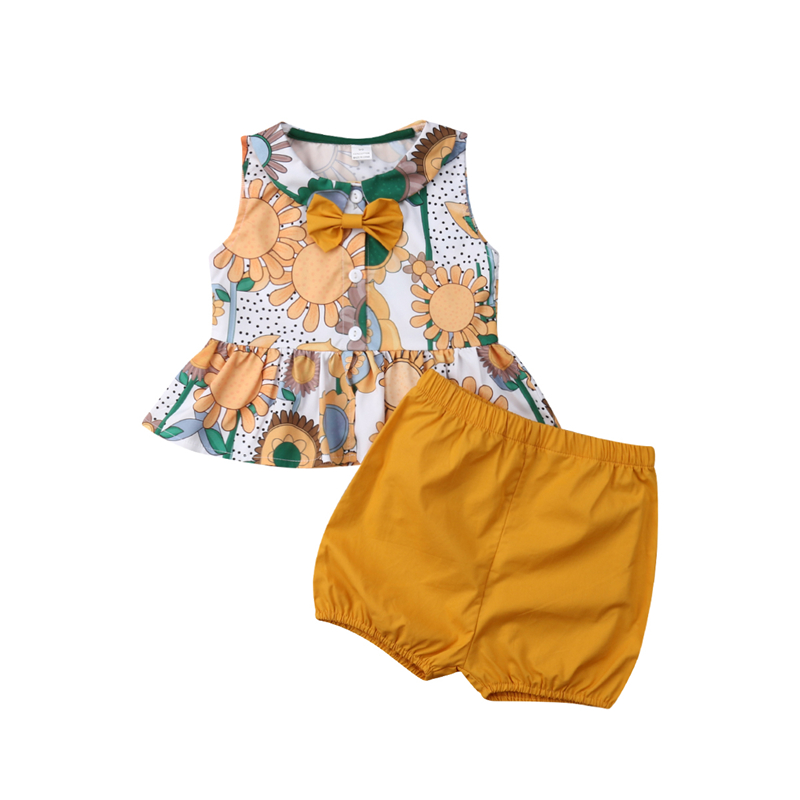 beb2b21480d2 Detail Feedback Questions about 2019 Toddler Baby Girl Clothes Set Floral Summer  Cotton Sunflower Bownote Round Neck Tops Shorts Costume Clothing Suit 2PCs  ...