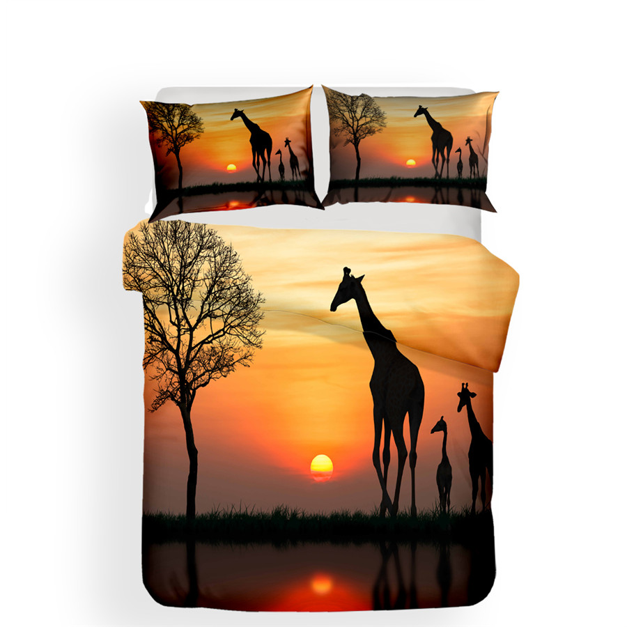 Image 2 - Bedding Set 3D Printed Duvet Cover Bed Set Giraffe Home Textiles for Adults Lifelike Bedclothes with Pillowcase #CJL04-in Bedding Sets from Home & Garden