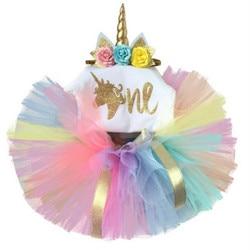 Bebê recém-nascido meninas unicórnio macacão tutu vestido bandana conjunto conjunto rainbow party 1 vestido de aniversário casamento ano novo vestido de bebê