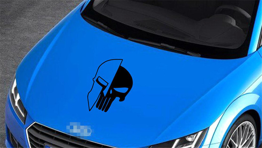 1 Piece Black 60 x 38CM Punisher Skull Vinyl Decals Car Auto Door Hood Car Sticker in Car Stickers from Automobiles Motorcycles