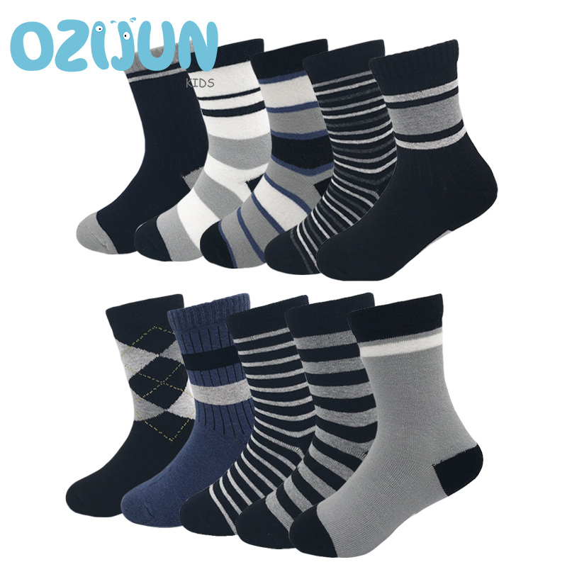 10 Pairs/lot Classic 10 Pattern Kids Boys 3-10 Years Cotton Daily Socks Set Children Boys Striped Dark Color Student Socks