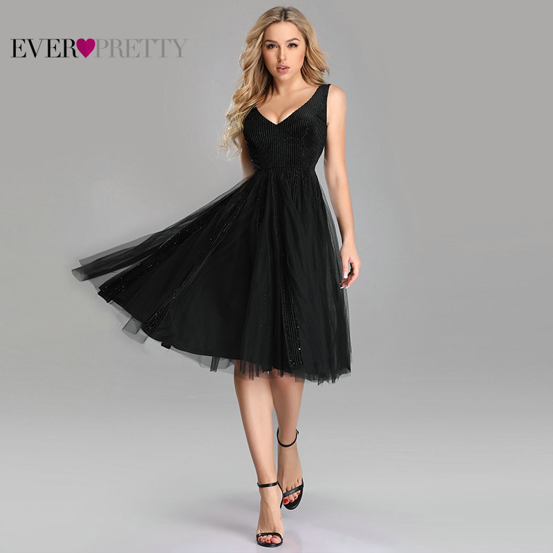 Sexy Black Knee Length   Cocktail     Dress   Ever Pretty Elegant A Line V Neck Sleeveless Short Formal   Dresses   Vestido Coctel Mujer