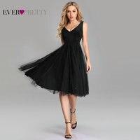 Sexy Black Knee Length Cocktail Dress Ever Pretty Elegant A Line V Neck Sleeveless Short Formal Dresses Vestido Coctel Mujer