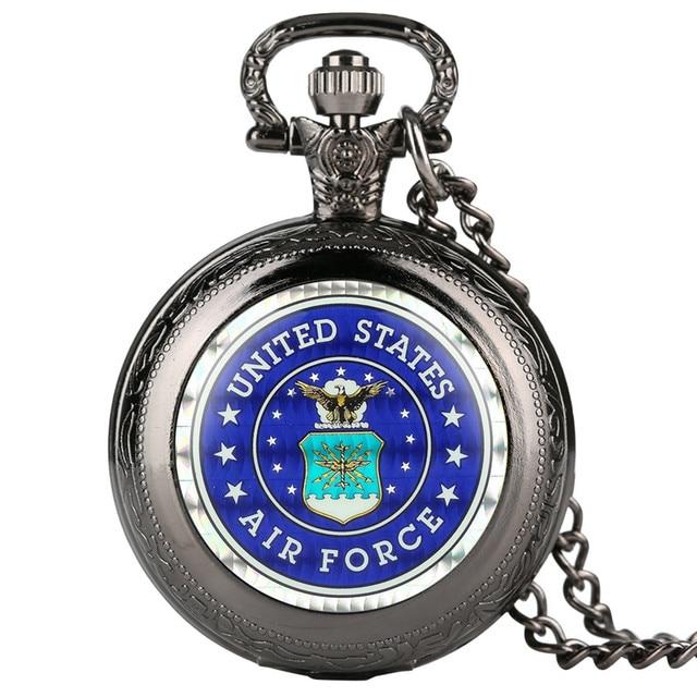 Estados Unidos Mens Quartzo Relógio de Bolso Padrão Águia Relógio de Bolso para o Presente Menino Digital Árabe para o Relógio de Bolso Com Colar