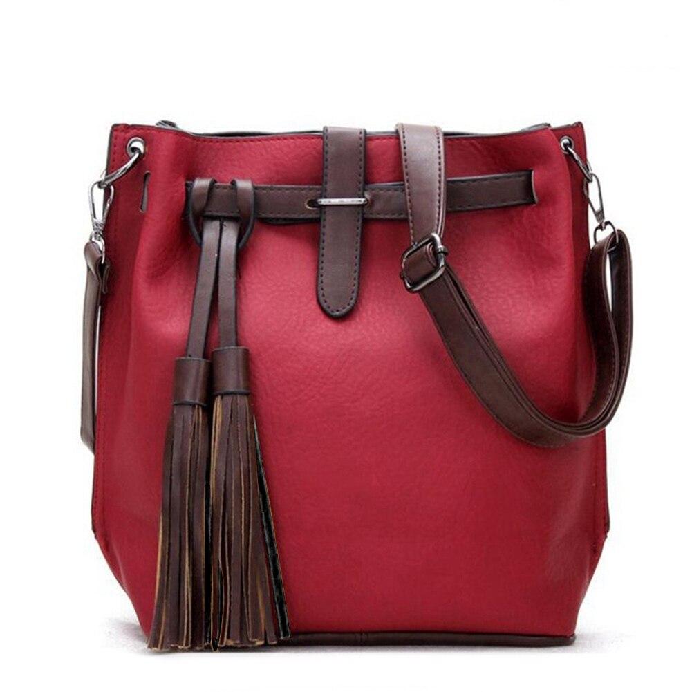 Women's Chic Leather Tassels Decor Bucket Bag Shoulder Cross Body Handbag Womens Summer Handbags
