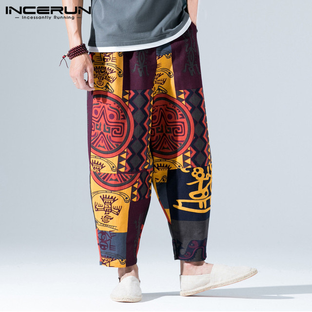 Chinese Stijl Print Mannen Harembroek Elastische Taille Katoen Losse Joggers Vintage Broek Mannen Hip-Hop Broek Mannen Streetwear INCERUN