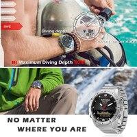 Men Sports Digital Analog Watch Diving Watch Full Steel Business Wrist Watch Altimeter Compass 100m Waterproof Water Sport