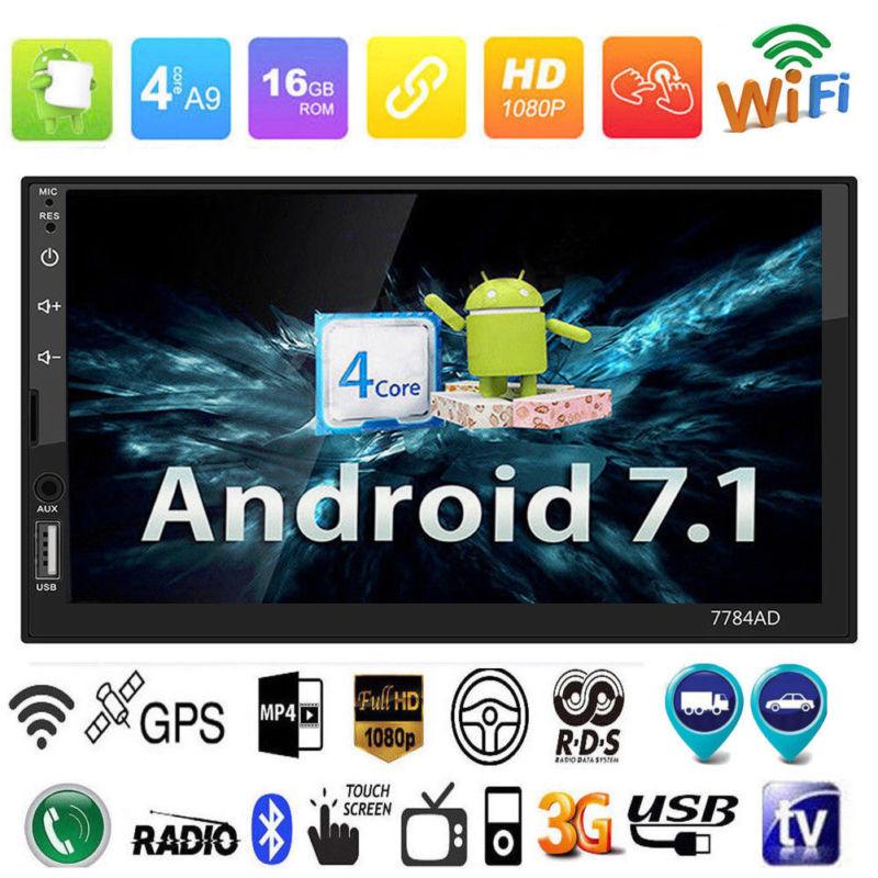 7 2 Din Bluetooth Android 7.1 Quad Core 16G Car Stereo MP5/4 GPS Navigation Player FM/AM Car Radio Free EU America Map 2 din car radio quad core android built in gps bluetooth wifi am fm car navigation 7 inch car audio stereo rear view camera