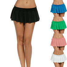 Women's Sexy Dance Dropped Mini Skirt School Girl Pleated Club Party Wear Solid Skirts(China)