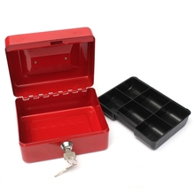 купить Lockable Cash Coin Money Storage Safe Security Box Holder Suitcase With Lock Key 6 Compartment Tray  1. Strong construction  2. по цене 627.21 рублей