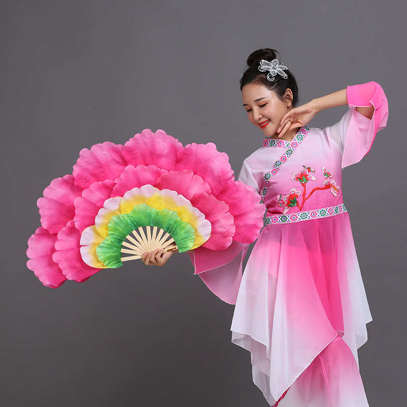 FEECOLOR 1pair Spanish Dancing Peony Handfan Double-sided Large Flower Petals Group Belly Dance Performance Prop Stage Fan
