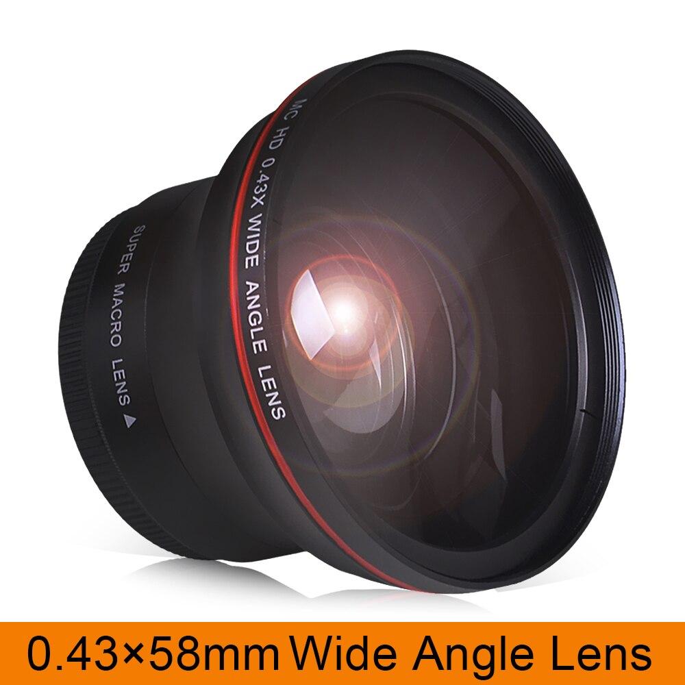 58MM 0.43x objectif grand Angle professionnel HD (avec partie Macro) pour Canon EOS rebelle 77D T7i T6s T6i T6 T5i T5 T4i T3i SL2