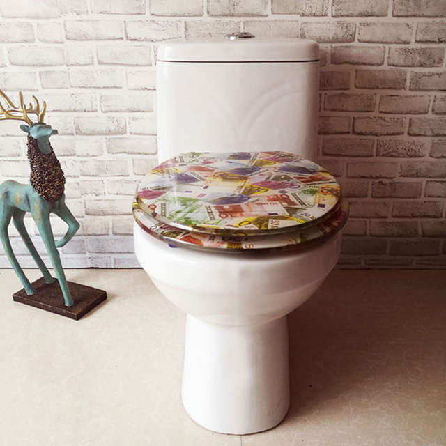 Amazing Thickened Ouv Type Universal Stainless Steel Hinged Toilet Seats Cover Resin Dollar Pattern Slow Close Buffer Toilet Seat J18322 Evergreenethics Interior Chair Design Evergreenethicsorg