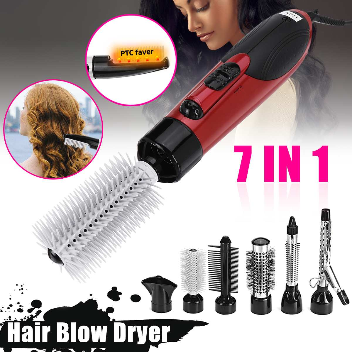 Professional 7 in 1 Electric Hair Dryer Hot Air Brush Comb Styling Curling Machine Multifunctional Styling Tools Set HairdryerProfessional 7 in 1 Electric Hair Dryer Hot Air Brush Comb Styling Curling Machine Multifunctional Styling Tools Set Hairdryer