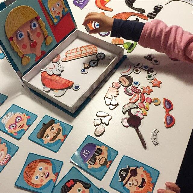 Magnétique Puzzle En Bois Jouet En Bois Puzzles Pour Enfants Apprentissage Jouets Éducatifs Cognitive Jouer à Faire Semblant Jeu de Société Enfants Cadeau