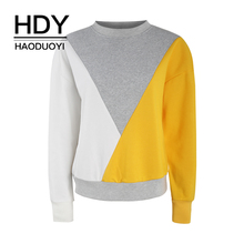 HDY Haoduoyi 2018 Contrast Stitching Loose Round Neck Pullover Sweater Winter Autumn Warm Fashion New Arrival Tops  For Female