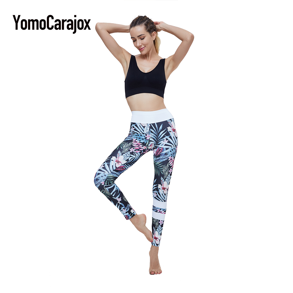 Women Fitness Pants Workout Leggings Floral Print Ladies YugaTrousers Sporting Hip Push Up Pants Slim Trousers For Femal