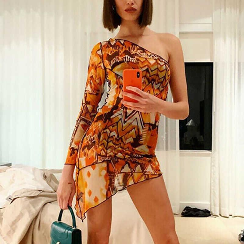 נשים סקסי דק מיני שמלת כתף אחת ארוך שרוול פרח Bodycon ערב מסיבת Clubwear גבירותיי תלבושות קיץ אופנה 2019
