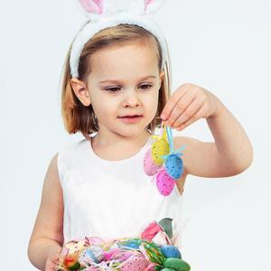 18 قطعة بيض عيد القيامة الأطفال DIY الحرفية البيض اليد رسمت عيد الفصح الزخرفية لعب الأطفال الاطفال المعلقات الحلي