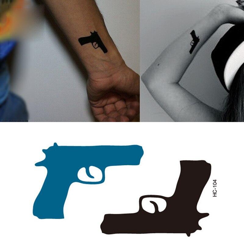 NEW 2018 Temporary Tattoo Sticker Waterproof Decals Fake Tatoo Art Taty Women's Pistol Pattern Tattoo Sticker