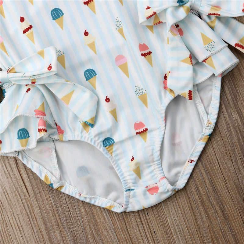 PUDCOCO Hot Toddler Kid Bé Gái Không Tay Đồ Bơi Ice Cream Bowknot Áo Tắm Thời Trang Giản Dị Beachwear Quần Áo Bộ 1-5 T