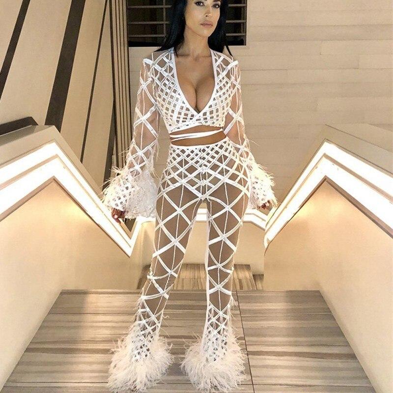 À Clubwear 2018 Rouge Plume Ensemble Combinaisons Gros Nu Automne cou Salopette Dos Moulante Bandage Longues Manches Femmes Barboteuses blanc V En Sexy RBEBxT