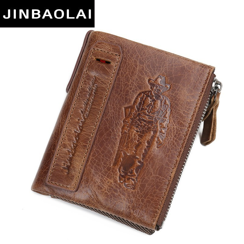 leather genuine wallet men double coin pocket zipper men wallets with credit card holder short male clutch slim wallet purse hot