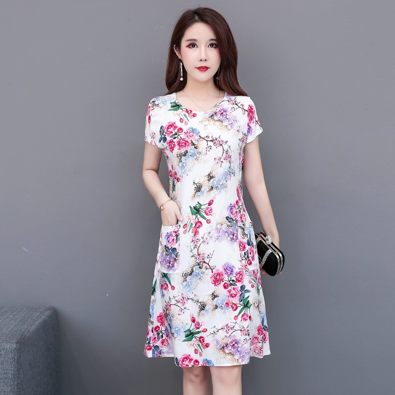 5XL Summer Dress A-line Size Promotion Vestidos Mujer Women Dresses Vanled Round Neck Short-sleeved Cotton Printed Slim Belt