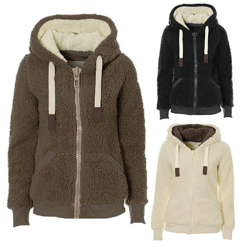 US $22.37 5% OFF|Hoodies Women Casual Student Sweatshirts Hoodies Zip up Wear Hoodie Womens Clothing Warm Soft Plush Outerwear Hooded Tops Fleece in
