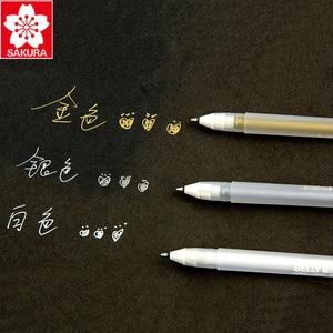 Image 4 - 12 ピース/ロットさくらホワイトゴールドゼリーロール水ベース 0.7 ミリメートル XPGB #50 ゲルペン日本製
