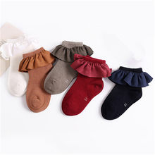 Sweet Warm Ruffles kid short socks with lace welt funny happy knitted infant newborn toddler baby socks 2-8Y(China)