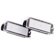 цена на 2Pcs Car LED Number License Plate Light For Renault Megane 2 Clio Laguna 2 Megane 3 Twingo Master Vel Satis