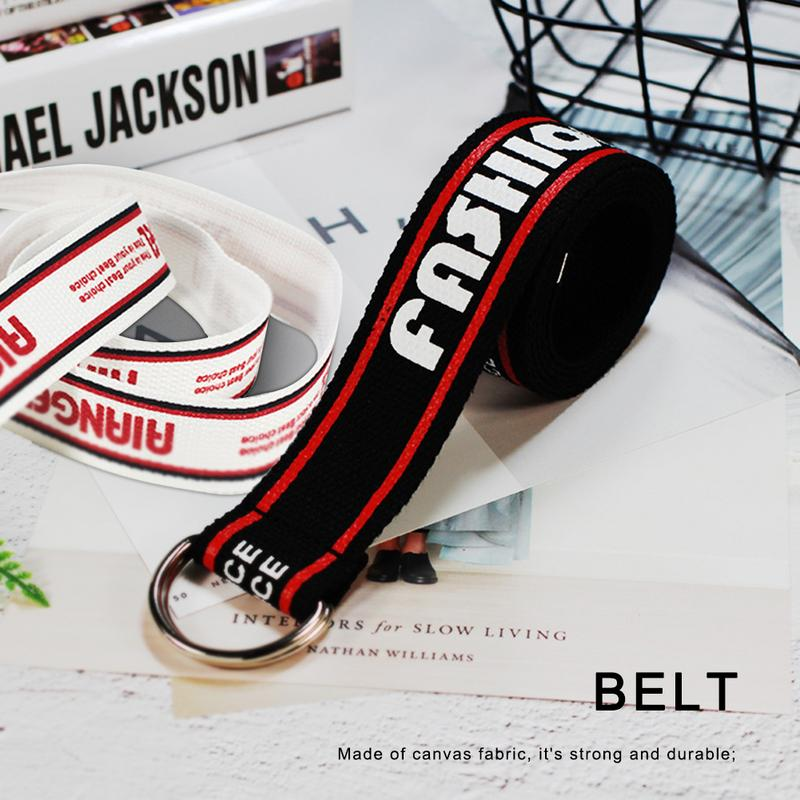 Women Fashion   Belt   Korean Version Letter Printing Knitted Canvas Punk Straps Metal Double Ring Buckle Nylon Jeans   Belts